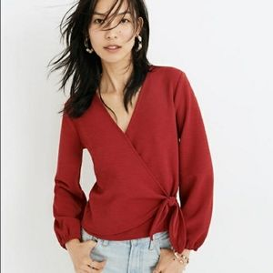MADEWELL Texture & Thread Crepe Wrap Top Red M